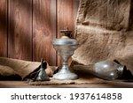 A Vintage Kerosene Lamp Covered ...