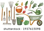 Set With Gardening Tools And...