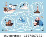 kids labyrinth game with animal ... | Shutterstock .eps vector #1937667172