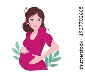 a pregnant girl. motherhood  a... | Shutterstock .eps vector #1937702665