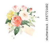 bouquet with blush roses  small ... | Shutterstock . vector #1937721682