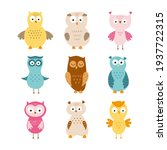 set with funny owls for kids.... | Shutterstock .eps vector #1937722315