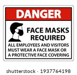 danger face masks required sign ... | Shutterstock .eps vector #1937764198