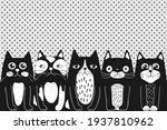 funny cartoon cats.  blacks cat ... | Shutterstock .eps vector #1937810962