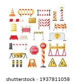 traffic road repair barriers... | Shutterstock .eps vector #1937811058