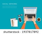 female hands typing text on the ... | Shutterstock .eps vector #1937817892