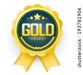 Gold Award, labels ribbon design. vector illustration.