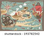 Island Treasure Map (pirate map), vector illustration, hand drawn
