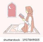 beautiful muslim woman reading...