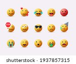big set of emoticon smile icons.... | Shutterstock .eps vector #1937857315