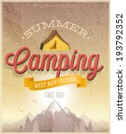 Summer Camping Poster. Vector...