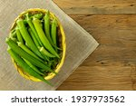 Top View Of Fresh Okra In A...