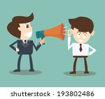 boss with megaphone yelling at... | Shutterstock .eps vector #193802486