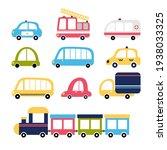 cute set of cartoon transports... | Shutterstock .eps vector #1938033325