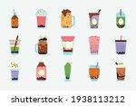 boba tea pearl drinks set | Shutterstock .eps vector #1938113212