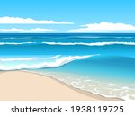 Bright summer seascape. Blue waves rolling on the sand beach.