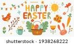 happy easter element set of... | Shutterstock .eps vector #1938268222