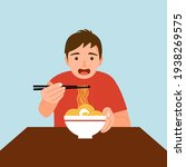 man feel hungry and eating... | Shutterstock .eps vector #1938269575