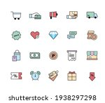 shopping icon set. flat design...   Shutterstock .eps vector #1938297298