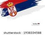 stylish brush flag of serbia.... | Shutterstock .eps vector #1938334588