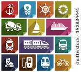 Transport Flat Icons With...