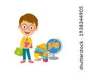 cute cartoon boy stand with...   Shutterstock .eps vector #1938344905