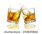 two whiskey glasses clinking... | Shutterstock . vector #193835846