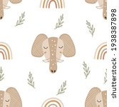 seamless pattern with elephants.... | Shutterstock .eps vector #1938387898