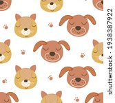 seamless pattern with cats and... | Shutterstock .eps vector #1938387922