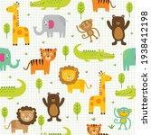 seamless cute character animals ... | Shutterstock .eps vector #1938412198