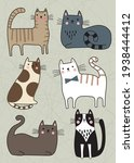 set of cute character cats  pet ... | Shutterstock .eps vector #1938444412