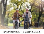 Small photo of Cheerful active senior couple with bicycle in public park together having fun. Perfect activities for elderly people. Happy mature couple riding bicycles in park