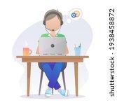 boy in headset  headphones with ... | Shutterstock .eps vector #1938458872