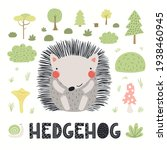 cute funny hedgehog in forest ...   Shutterstock .eps vector #1938460945