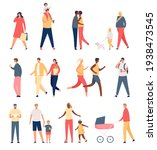 walking adults and kids. flat... | Shutterstock .eps vector #1938473545