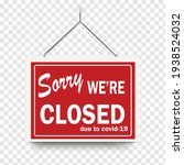 red sign sorry we are closed... | Shutterstock .eps vector #1938524032