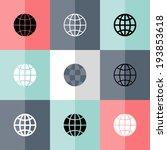 illustration of flat globe icon ... | Shutterstock .eps vector #193853618