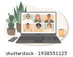 online meeting via video... | Shutterstock .eps vector #1938551125