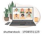 online meeting via video... | Shutterstock .eps vector #1938551125