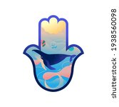 hand of hamsa with whale and... | Shutterstock .eps vector #1938560098