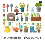 collection of garden tools and... | Shutterstock .eps vector #1938607435