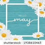 white frame on blue wooden... | Shutterstock .eps vector #1938610465