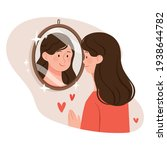 the woman looks at herself in... | Shutterstock .eps vector #1938644782