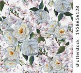 Watercolor Flowers Rose And...