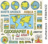 geography. hand drawn. vector... | Shutterstock .eps vector #193869632