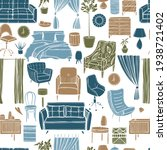 hand drawn furniture  curtains  ... | Shutterstock .eps vector #1938721402