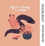 vector sea life poster with... | Shutterstock .eps vector #1938782032