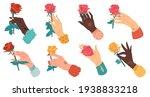 hands with roses. cartoon flat...   Shutterstock .eps vector #1938833218