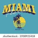 miami florida beach fun quoted... | Shutterstock .eps vector #1938921418