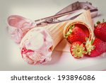 wafer cones with strawberry ice ... | Shutterstock . vector #193896086